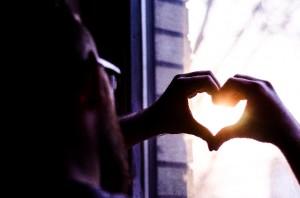 バレンタイン・ハート窓
