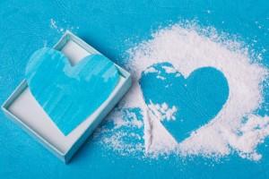 バレンタインの青ハートの絵